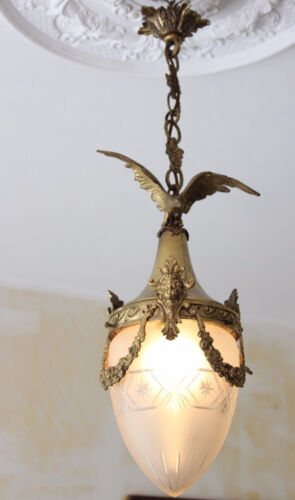 Antique French Chandelier Eagle putti angel brass crystal glass acorn Rare