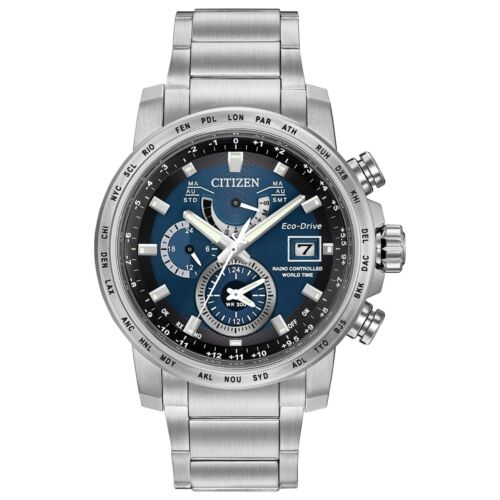 Citizen Eco-Drive Men's AT9070-51L World Time Blue Dial Silver-Tone 44mm Watch