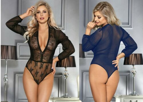 Stunning Lace Bodysuit Floral Sexy Lingerie Top Long Sleeve Sheer Plus Sizes