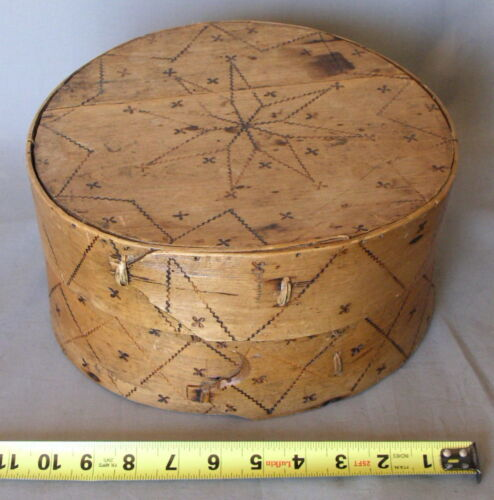 Early 18th c decorated pantry box dated 1705 carved stamped lapped joint stars