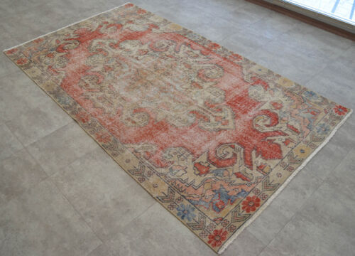 Vintage Distressed Area Rug Hand Knotted Faded Turkish Oushak Rug 4'3'' x 7'5''