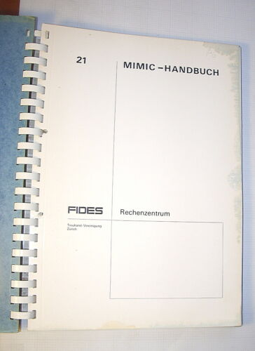 MIMIC User Guide for CDC 6000 computer systems, edited 1969, in German