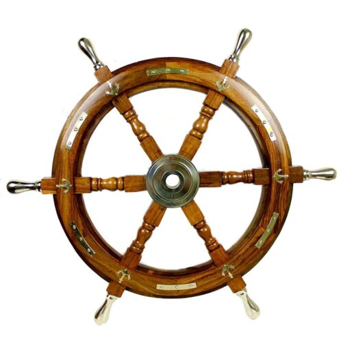 """24"""" Antique Nautical Wooden Ship Steering Wheel Decor Brass Handle Wall Boat"""