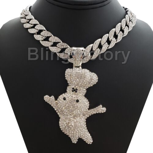 "Hip Hop Large DOUGHBOY Pendant & 15mm 18"" Full Iced Cuban Choker Chain Necklace"