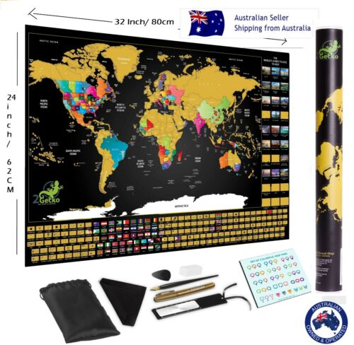 Large Premium Deluxe Glossy Scratch Off World Map Poster Decor Atlas with Tools <br/> AU Stock✔Fast Dispatch✔ Top Quality✔ Australian Design
