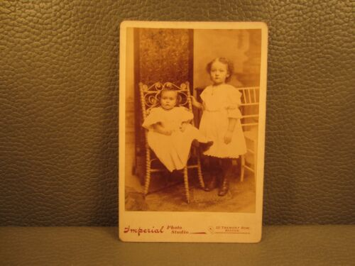 Victorian Antique Cabinet Card Photo of Young Children, Kids, Sisters, Girls