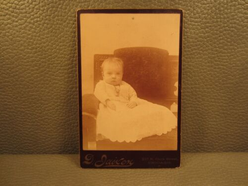 Victorian Antique Cabinet Card Photo of Young Baby Girl