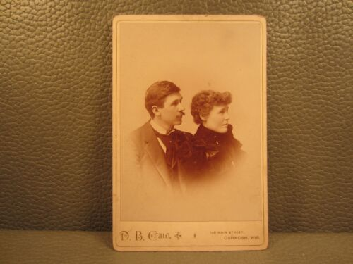 Victorian Antique Cabinet Card Photo of a Married Couple Husband and Wife