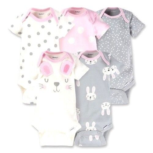 Gerber Baby Girls 5 Onesies Pack Variety Bodysuits Off White PK  & GY COLORS []