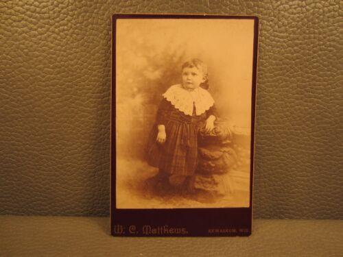 Victorian Antique Cabinet Card Photo of Young Girl, Child, Kid