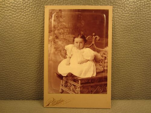 Victorian Antique Cabinet Card Photo of Young Girl,Baby Girl, Child, Kid, Infant