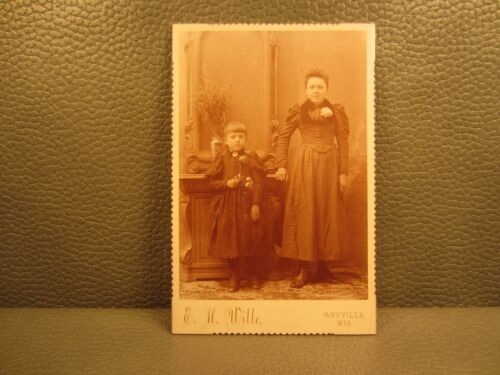 Victorian Antique Cabinet Card Family Photo of Two Sisters, Young Girls