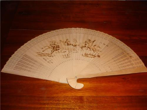 vintage oriental hand carved heat engraved wood wall decor fan large