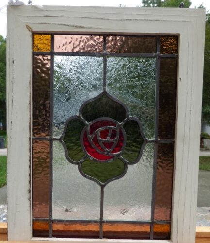 Victorian macintosh rose leaded stained glass window