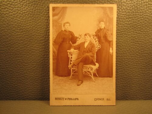 Victorian Antique Cabinet Card of a Family, Brother and Two Sisters