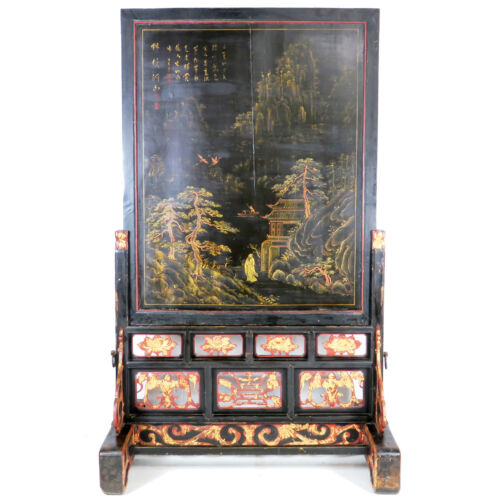 Large Antique Chinese Black Lacquer & Gold Painted Landscape Panel Floor Screen