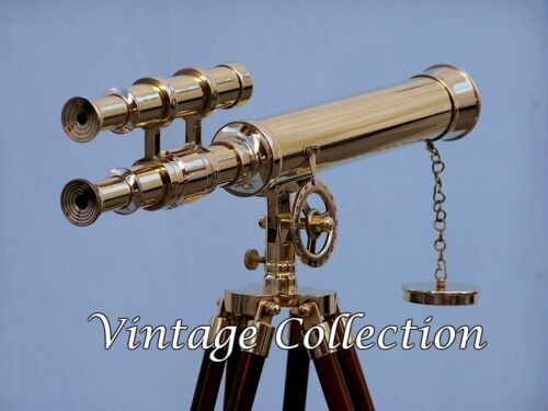 """Antique Nautical Navy Brass Double Barrel Telescope 18"""" With Wooden Tripod Stand"""