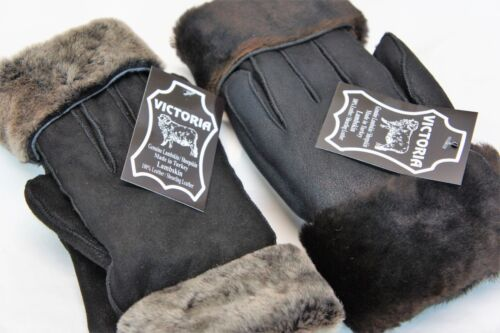 REAL GENUINE SHEEPSKIN SHEARLING LEATHER GLOVES UNISEX Fur Winter 2 Colors S-2XL