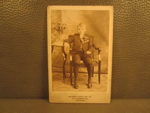 Victorian Antique Cabinet Card Photo of a Young Boy's Confirmation