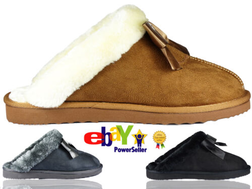Girls Bow Ladies Womens Winter Fur Lined Luxury Mules SLIPPERS  Jyoti Libby Size