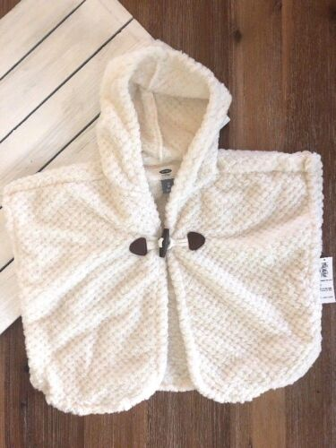 NWT Old Navy Girl's Cozy Hooded Poncho - Cream - 3T 4T 5T