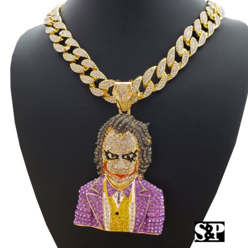"Hip Hop Large JOKER Pendant & 18"" Full Iced Miami Cuban Choker Chain Necklace"