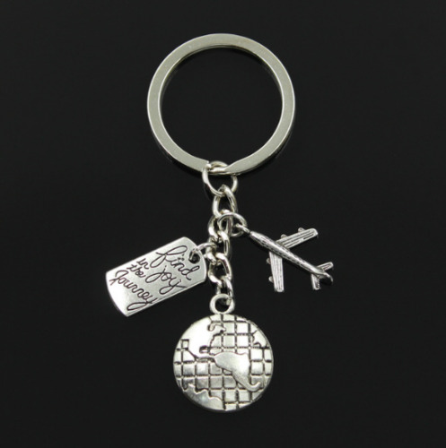 """""""Find Joy in the Journey"""" Quote Keyring ~ Travel Gift Idea Plane World Keychain"""