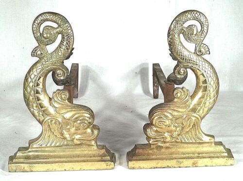 PAIR EARLY 20th CENTURY BRASS DOLPHIN ANDIRONS WITH MATCHING DOLPHIN LOG STOPS