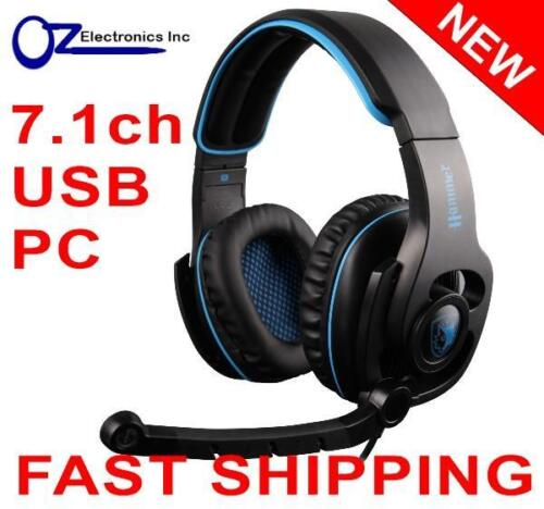 SADES SA923 HAMMER 7.1 channel PC Gaming Headset Headphones Noise Cancel Mic NEW