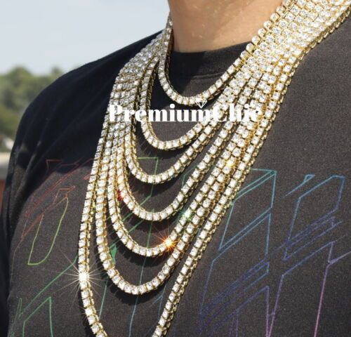 Iced Out Tennis Chain Choker 14k Gold IP Clear CZ Stones Men's Hip Hop Necklace