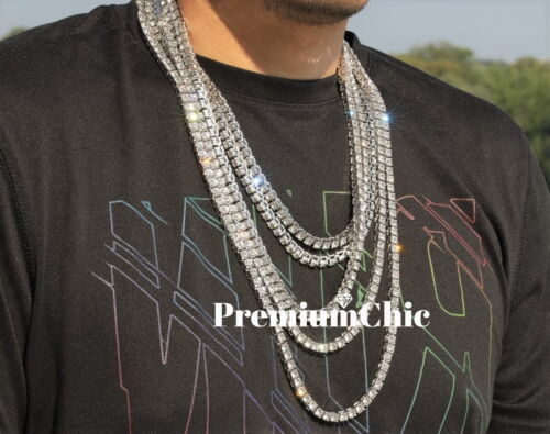 Iced Out 14k White Gold Tennis Chain Choker Clear CZ Stone Mens Hip Hop Necklace