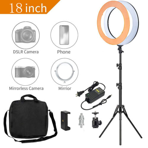 """18"""" LED Ring Light with Stand Kit Dimmable lighting for Phone Camera Makeup live"""