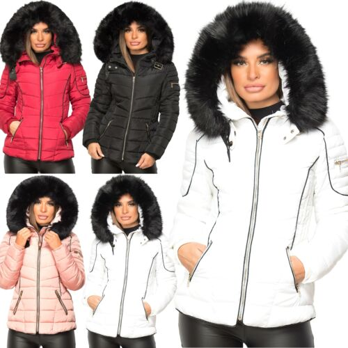 UK Ladies Women's Quilted Puffer Bubble Padded Fur Hooded Warm Thick Coat Jacket