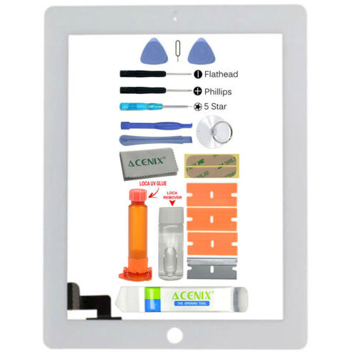 ACENIX Apple iPad 2 White Outer Front Glass Screen Replacement Repair Kit