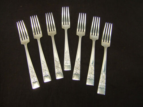 Lot of 7 Diamond Plate Silverplate 4 Tong Dinner Forks  ~ Estate Find ~