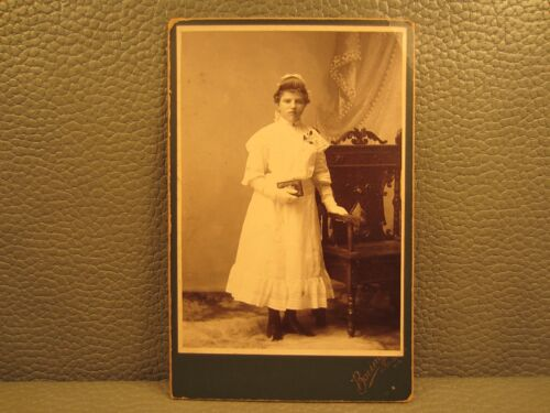 Victorian Antique Cabinet Card Photo of Young Girls First Communion Confirmation
