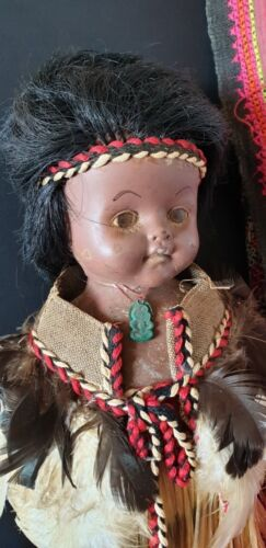Old New Zealand Maori Female Doll in Traditional Dress  …beautiful collection..
