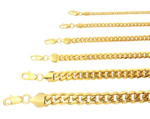 Miami Cuban Curb Link Chain Necklace Or Bracelet 18k Gold Plated Stainless Steel