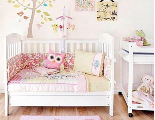 new cotton 6 piece living textiles poppy seed cot nursery  white pink rrp $199