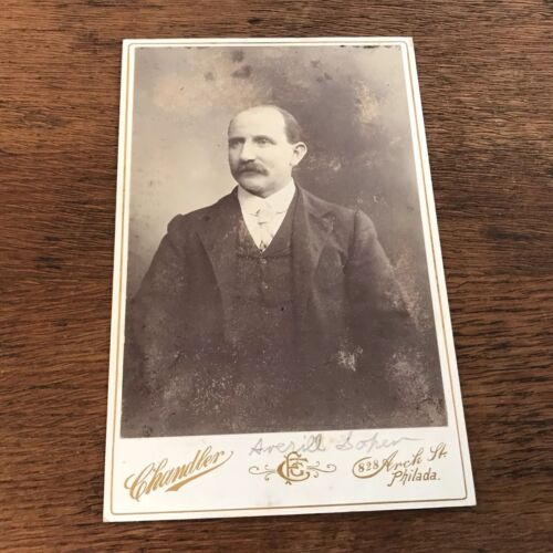 Vintage Cabinet Card Photograph of Older Man with Mustache Philadelphia, Pa
