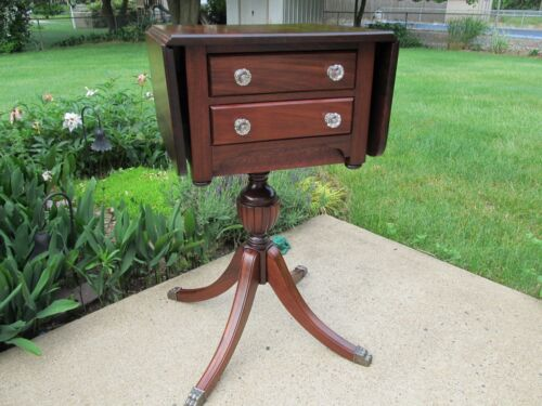 American Federal Style Work Sewing Table Stand Drop Leaf