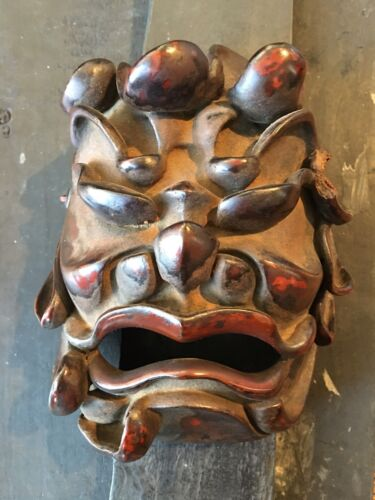 19th Cent Japanese Lacquered Wood Theatre Mask