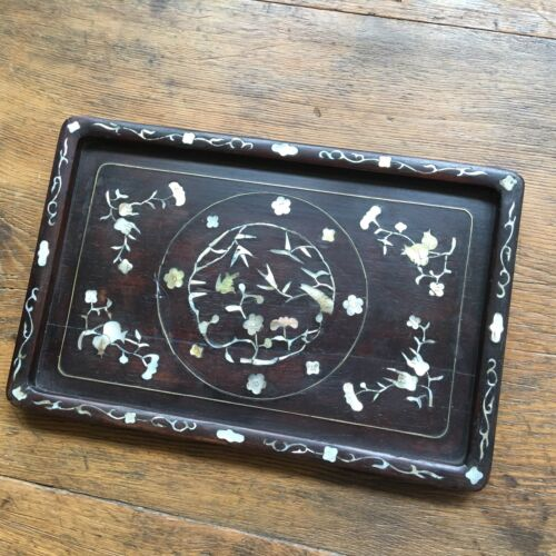 19th Cent Chinese tray with Mother Of Pearl Inlaid on Dark wood