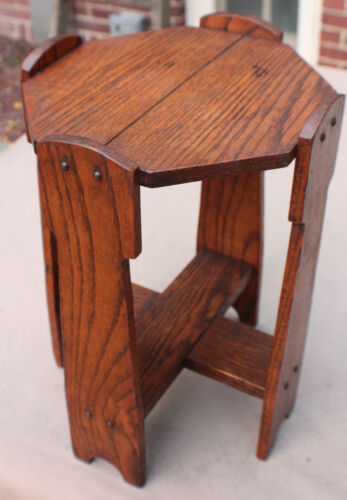 Antique Mission  Arts and Crafts Hexagon Side Table Stickley Roycroft Era c.1915