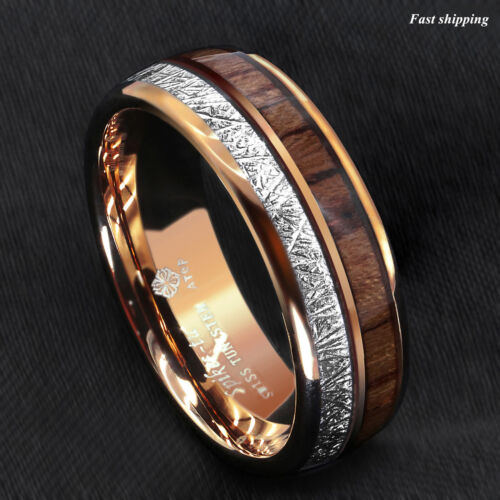 8/6mm Rose Gold Dome Tungsten Ring Silver Koa Wood Inlay Bridal ATOP Men Jewelry