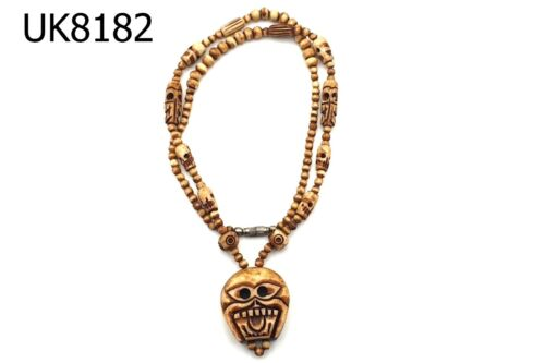 RARE Old Holy Carved RITUAL SKULL & CHANK SHELL Beads NAGALAND Necklace #8182