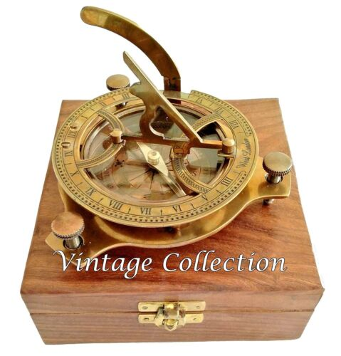 4'' Solid Brass Sundial Compass Maritime Vintage Marine Working Compass with Box
