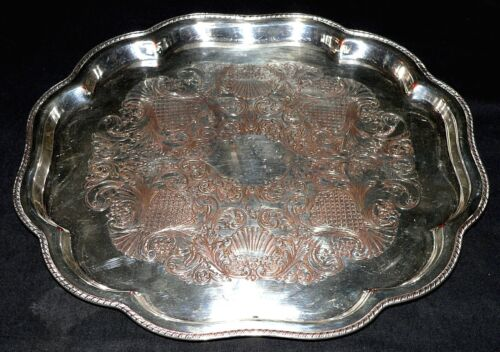 """Salver, tray, silverplate, Colonial Revival, Oxford Silver Co, NYC, engraved,13"""""""