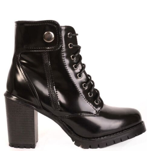 WOMENS HIGH HEEL MILITARY COMBAT ANKLE BOOTS BLACK PATENT SIZE 4 5 6 7 8