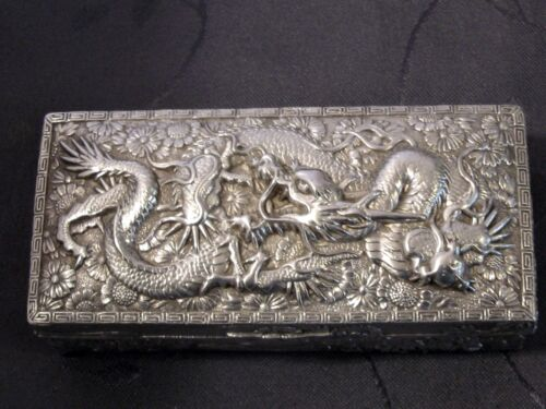 CHINESE DRAGON SILVER PLATED BOX BOX IN ALLOY D SILVER ASIAN
